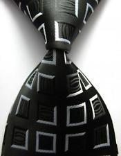 jacob alex #38815 Classic Necktie Black&Gray Plaids WOVEN JACQUARD Silk Men's Suits Tie s