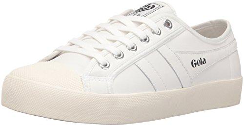 Gola Women's Coaster Leather Fashion Sneaker, White/Off White, 8 M US
