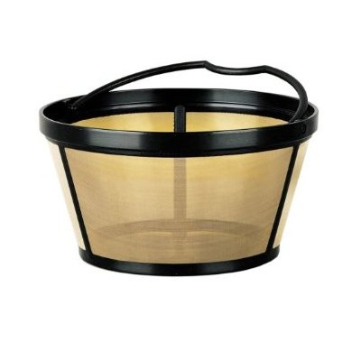 Gold Tone Reusable Basket-Style 10-12 Cup Coffee Filter With Solid Bottom