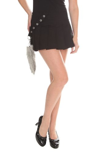 Tripp Raccoon Tail Black Pleated Skirt