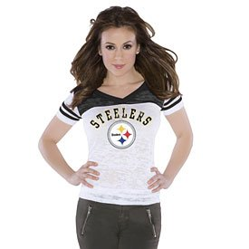 Pittsburgh Steelers Ladies Burnout V-Neck T-Shirt