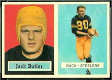 1957 Topps Regular (Football) Card# 15 Jack Butler of the Pittsburgh Steelers Ex Condition