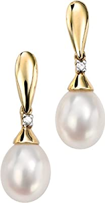 Elements Gold Ladies 9ct Yellow Gold Freshwater Pearl and Diamond Drop Earrings