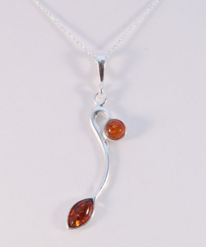 Amber Pendant Set into Sterling Silver on a 16