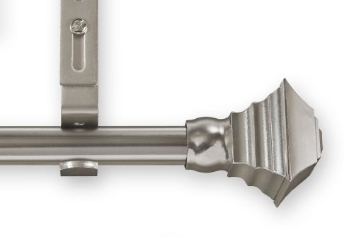 Source Global Unique 98-Inch to 144-Inch Adjustable Curtain Rod Sets, Square Style, Pewter