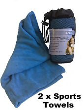 2 X Micro fibre Sports Gym Travel Towel with Mesh Bag Size Approx 80cm x 40cm Super Absorbent (Pack Of 2)