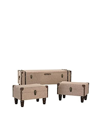 Artistic Lighting Set of 3 Linen Covered Travelers Trunks, Sand/Brown