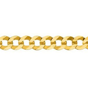 14K Solid Yellow Gold Comfort Curb Chain Necklace 5.7mm thick 24 Inches