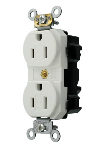 Leviton MT562-SW Lev-Lok Modular Wiring Device 15-Amp, 125-Volt, Narrow Body Duplex Receptacle, Fed Spec Commercial Grade, Tamper-Resistant, Self Grounding, White (Electric Dirt Tamper compare prices)