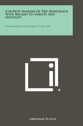Content Analysis of the Rorschach with Regard to Anxiety and Hostility: Journal of Projective Techniques, V13, No. 3, 1949