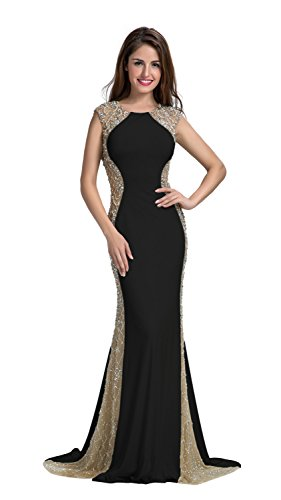 Chic Belle Women Ity Two Side Beaded Fishtail Evening Dress Prom Gown 2016(12