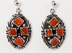 Navajo Silver Coral Cluster Dangle Pierced Earrings