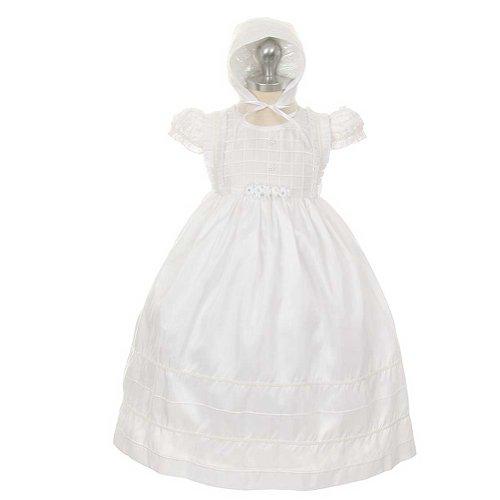 Rain Kids White Taffeta Lattice Baptismal Bonnet Dress Toddler Girl 3T