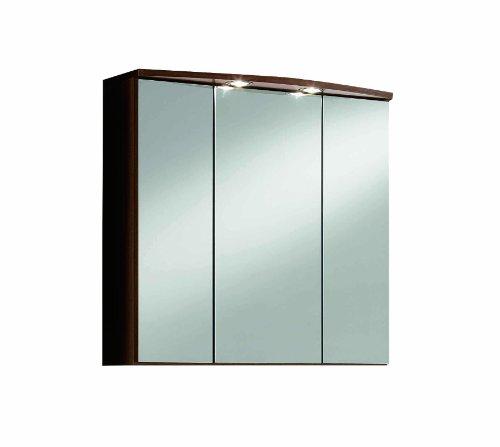 Held Möbel 174.3082 Marinello Spiegelschrank 3-türig, 6 Einlegeböden, 2 Aufbauleuchten, 70 x 69 x 20 cm, eiche dunkel