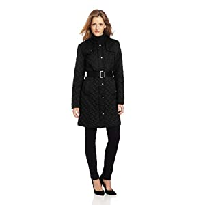 Cole Haan Women's Signature Belted Quilt Jacket, Black, Large