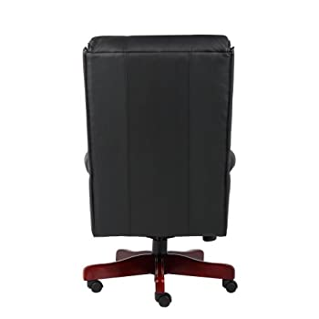 Boss Office Products B980-CP Traditional High Back CaressoftPlus Chair with Mahogany Base in Black