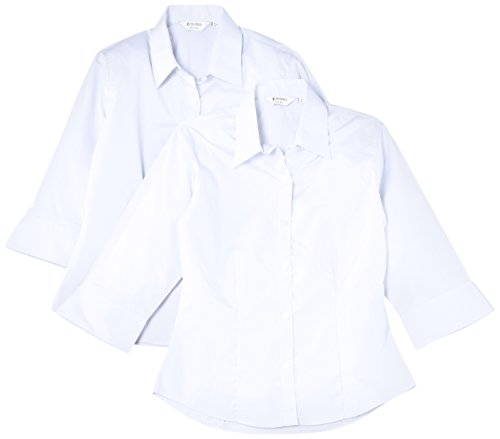 Trutex Limited 2 pack  Girl's 3/4 Sleeve Fitted Plain Blouse, White, 12 Years (Manufacturer Size: 32