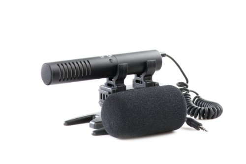 Azden Smx-20 Compact High-Performance Directional Stereo Mic With Stereo Mini-Plug Output Cable, Windscreen And Shock-Mount Holder