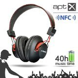 Avantree Audition Wireless Bluetooth 4.0 Headphones with Microphone and audio line input- Black/Red