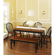 Better Homes and Gardens Autumn Lane 6-Piece Dining Set, Black and Oak (Better Homes And Gardens Table compare prices)