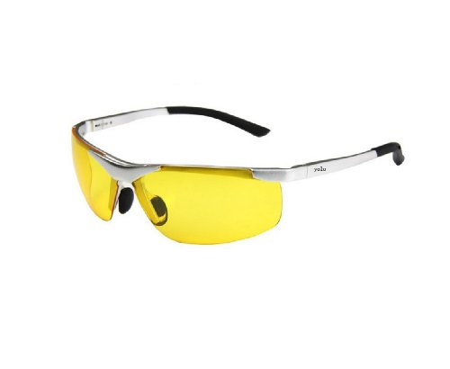 Polarized Sunglasses, Night Vision Driving Mirror Magnesium Material Outdoor Sports Eyewear Aviation, Aviation Aluminum Magnesium Frames, (Yellow Lenses Silver Legs)