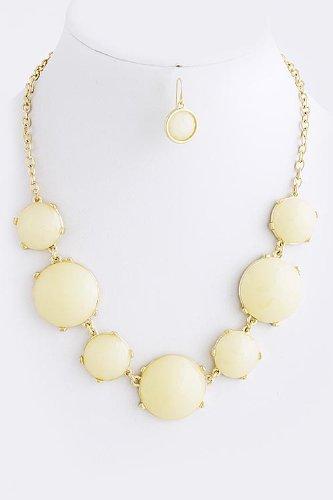 Karmas Canvas Circle Jewel Necklace Set (White)