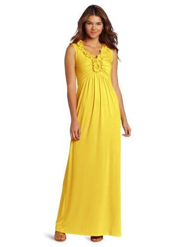 Tiana B Women's Ruffle Neck Maxi Dress, Yellow, Medium