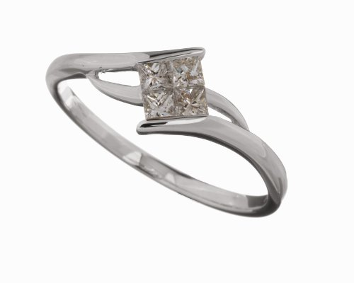 18ct White Gold Diamond Engagement Ring With Princess Cut Diamond Solitaire, 1/4 Carat Diamond Weight