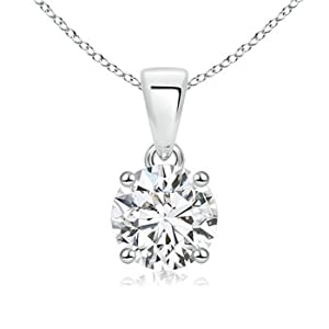 Cyber Monday and Black Friday - Prong Set Round Diamond Solitaire Pendant in Platinum