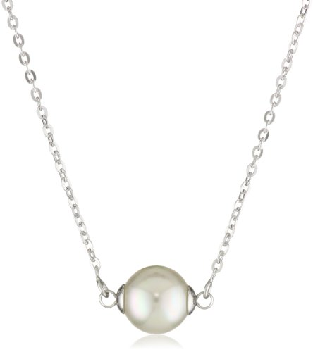 Majorica Sterling Silver 8mm White Round Pearl Pendant Necklace