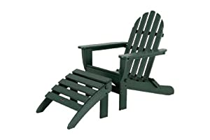 POLYWOOD PWS136-1-GR Classic 2-Piece Adirondack Chair Set, Green