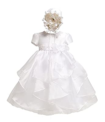 KID Collection Baby-girls White Christening Baptism Dress