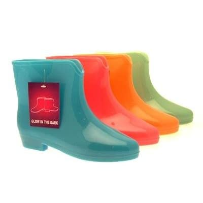 Womens ladies ankle glow in the dark wellies wellington festival rain boots size 3-8