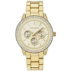 "腕時計 Wristology ""Alex"" Ladies Gold Dial Crystal Bezel Chunky Boyfriend Watch Women's Wristwatch for Women【並行輸入品】"