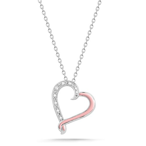 Sterling Silver Pink Enamel with Diamonds Heart Pendant Necklace (0.03 cttw, I-J Color, I2-I3 Clarity), 18