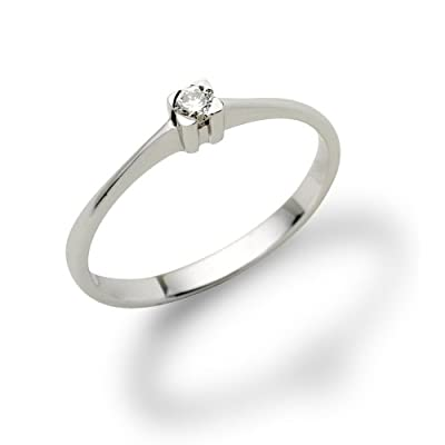 Miore 18ct White Gold Solitaire Ring with Diamond