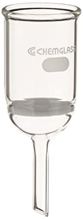 Chemglass CG-1402-10 Glass Buchner Filtering Funnel with Coarse Frit, 30mL Capacity, 8mm OD x 75mm Length Stem, 30mm Diameter