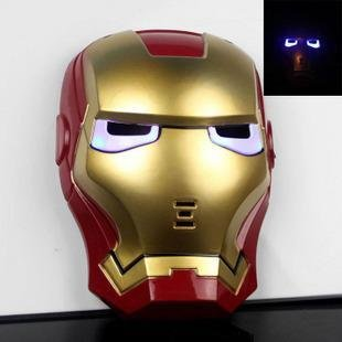 Liotus@ Cool Cosplay Glowing Iron Man Mask W/blue LED Eyes Halloween Fancy Dress Costume Toy for Kids Boys - 1