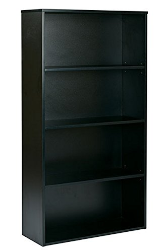 Pro-Line II / OSP Designs Prado 4-Shelf Bookcase with 3/4-Inch Shelves and 2 Adjustable/2 Fixed Shelves, 60-Inch, Black (Proline Designs compare prices)
