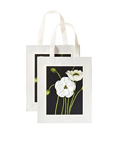 S.E. Hagarman Set of 2 Medium Glitzy Gift Bags, Black Poppy