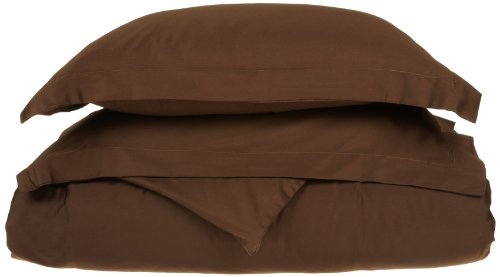 Impressions Genuine Egyptian Cotton 300 Thread Count Full/Queen 3-Piece Duvet Cover Set Solid, Mocha back-1007125