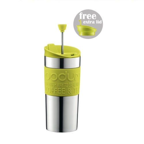 BODUM TRAVEL PRESS Stainless Steel Coffee/Tea maker with extra lid 0.35 l /12 oz - Lime Green