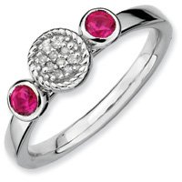 0.37ct Stackable Round Ruby & Diamond Ring Band. Sizes 5-10