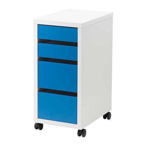 IKEA(イケア)  MICKE 引き出しユニット キャスター付き, ホワイト, ブルー 60296032