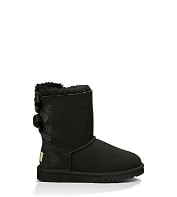 UGG Australia Girl's Bailey Bow Black Sheepskin Boot 4 M US