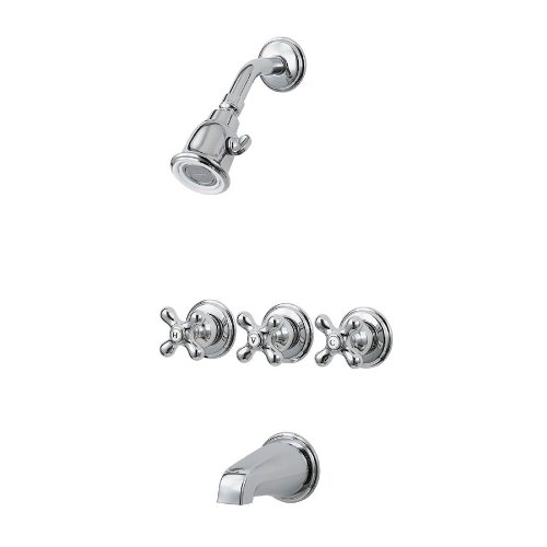 Pfister 01 8CBC Three Handle Tub And Shower Combo Chrome 038877413234 To