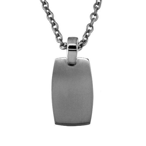 Men's Grey Titanium Rectangular Dog Tag Pendant Necklace , 20