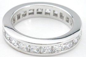 3.00 Ct Princess cut channel set eternity band wedding ring sterling silver cz diamond