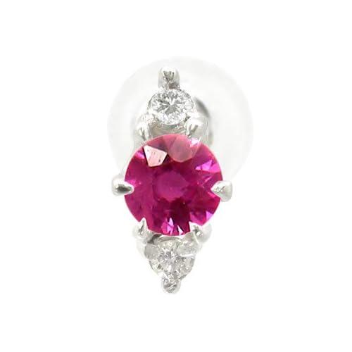 [アトラス] Atrus 片耳ピアス 7月 誕生石 ルビー ピアス プラチナ900 ダイヤモンド ダイヤ PT900 ファッションピアス