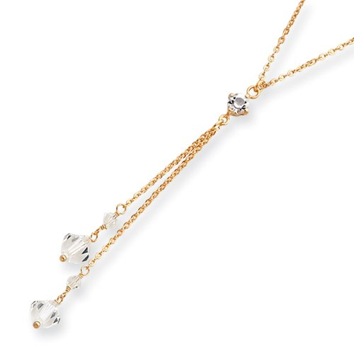 16in Gold-Plated White Crystal Y-Necklace